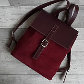 handmade. Livemaster - original item Backpack made of leather and suede Burgundy. Leather urban backpack. Handmade.