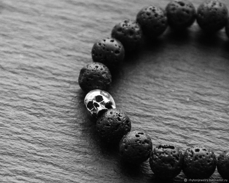 Браслет из бусин натурального лавового камня и серебра, Браслет из бусин, Кострома,  Фото №1
