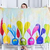 Аксессуары ручной работы. Ярмарка Мастеров - ручная работа Шелковый шарф с авторским принтом - зайцемания. Handmade.