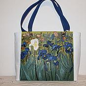 "Сумки и аксессуары handmade. Livemaster - original item Ван Гог. Кожаная зеленая сумка женская ""Ирисы"". Handmade."