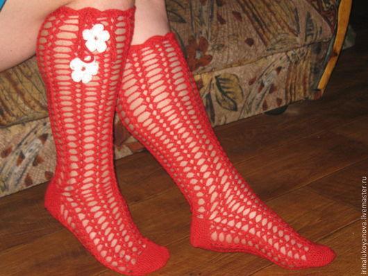 """Обувь ручной работы. Ярмарка Мастеров - ручная работа. Купить НОСОЧКИ - ГОЛЬФЫ ДОМАШНИЕ """"ЧАРОВНИЦА"""". Handmade. Красивые, вязаные"""