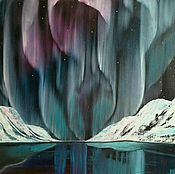 """Картины и панно ручной работы. Ярмарка Мастеров - ручная работа Картина маслом """"Северное сияние"""". картина. картина природа. Handmade."""