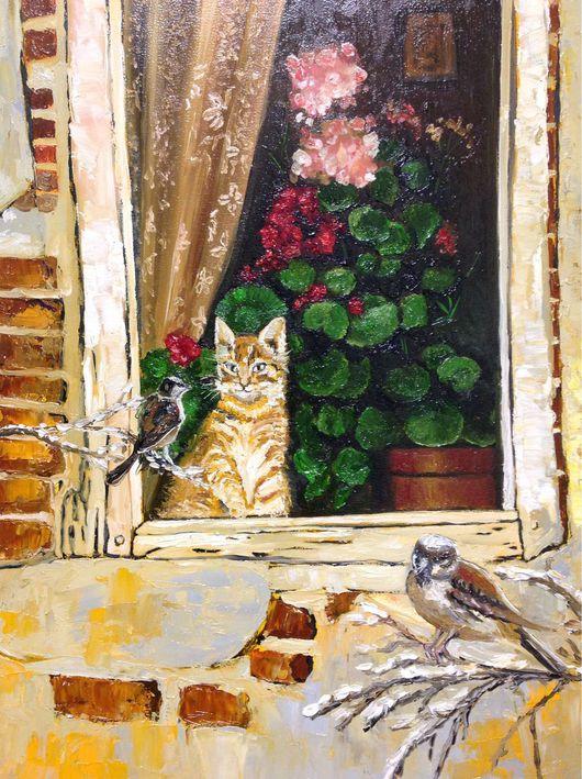Купить картину с котом, купить картину с кошкой, портрет питомца, купить картину с котенком, птица, птицы, Купить картину с котом, купить картину с кошкой, портрет питомца, купить картину с котенком