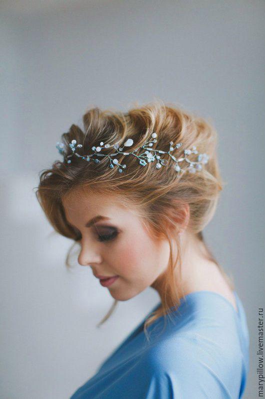Нежный веночек в популярном цвете этого свадебного сезона Serenity.