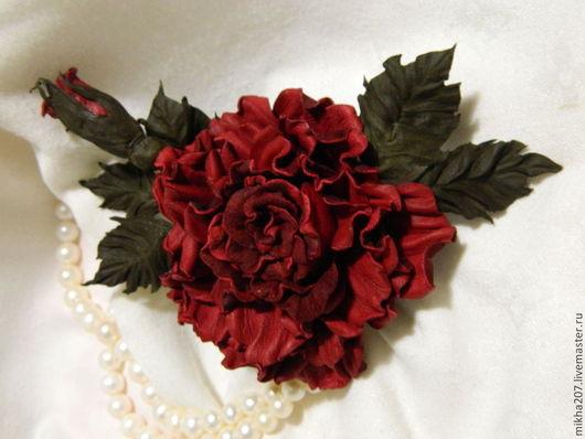 """Цветы ручной работы. Ярмарка Мастеров - ручная работа. Купить Пурпурная роза из кожи """"Триумф"""". Handmade. Ярко-красный"""