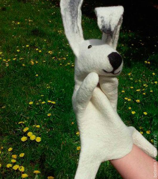 """Развивающие игрушки ручной работы. Ярмарка Мастеров - ручная работа. Купить Игрушка бибабо """"Белый зайка"""". Handmade. Белый"""