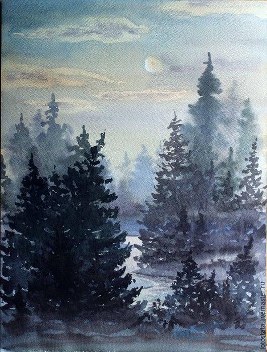 """Пейзаж ручной работы. Ярмарка Мастеров - ручная работа. Купить Картина """"Туманная ночь"""". Handmade. Разноцветный, акварельный рисунок, Живопись"""