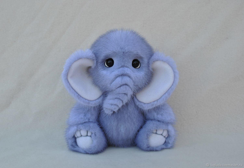Игрушка из натурального меха. Слоник, Мягкие игрушки, Ордынское,  Фото №1