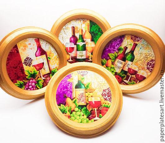 Кухня ручной работы. Ярмарка Мастеров - ручная работа. Купить Винный набор из 4-х декоративных панно. Handmade. Комбинированный