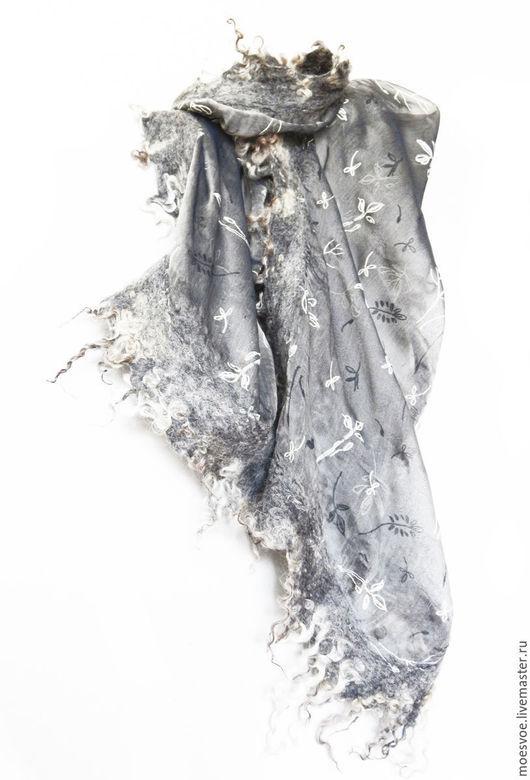 Шарфы и шарфики ручной работы. Ярмарка Мастеров - ручная работа. Купить Шарф женский с флисом. Handmade. Серый, шерстяной шарф