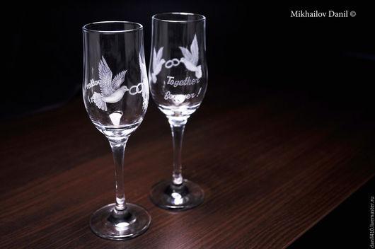 Бокалы, стаканы ручной работы. Ярмарка Мастеров - ручная работа. Купить Свадебные бокалы-вместе навсегда, гравировка стекла. Handmade.