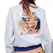 Одежда handmade. Livemaster - original item Exclusive denim bomber jacket (pilot) in the style of pop art. Handmade.