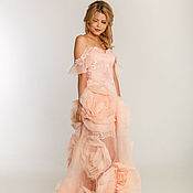 Одежда ручной работы. Ярмарка Мастеров - ручная работа Персиковое вечернее платье. Handmade.