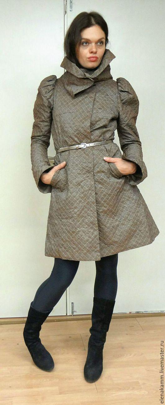 Верхняя одежда ручной работы. Ярмарка Мастеров - ручная работа. Купить Утепленный плащ-пальто. Handmade. Бежевый, дизайнерская работа