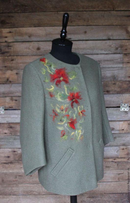 """Верхняя одежда ручной работы. Ярмарка Мастеров - ручная работа. Купить Жакет """"Маки"""" №2. Handmade. Тёмно-зелёный, осенний"""