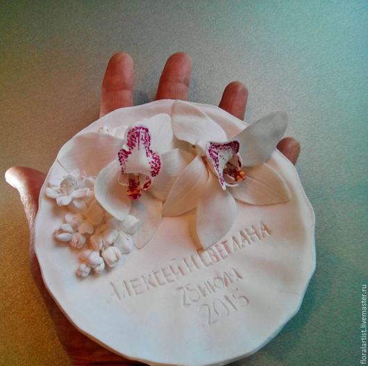 """Свадебные аксессуары ручной работы. Ярмарка Мастеров - ручная работа. Купить тарелочка для колец """"Нежность"""". Handmade. Белый, подушечка для колец"""