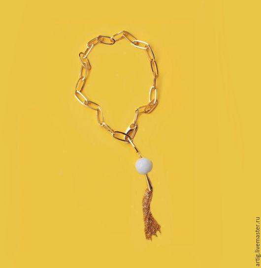 Кулоны, подвески ручной работы. Ярмарка Мастеров - ручная работа. Купить Подвеска на толстой цепочке с нефритом gold plated. Handmade.
