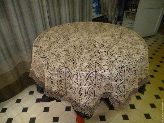 Текстиль, ковры ручной работы. Ярмарка Мастеров - ручная работа. Купить скатерть круглая. Handmade. Бежевый, украшения ручной работы