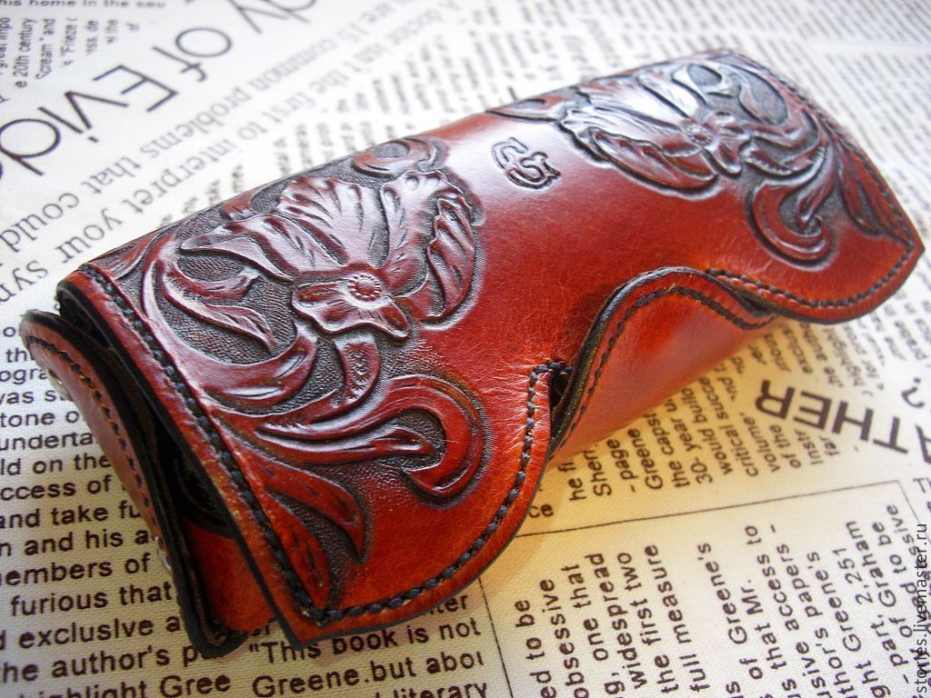 Leather eyeglass case, embossed eyeglass case, gift for a woman, Eyeglass case, Dubna,  Фото №1