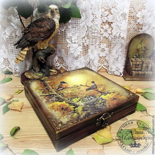 """Шкатулки ручной работы. Ярмарка Мастеров - ручная работа. Купить Шкатулка """"Райский сад"""". Handmade. Оливковый, подарок мужчине, для бумаг"""
