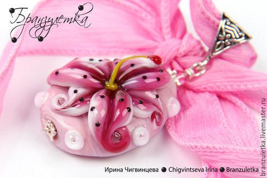 Кулоны, подвески ручной работы. Ярмарка Мастеров - ручная работа. Купить Розовая лилия - кулон авторский лэмпворк lampwork цветок. Handmade.