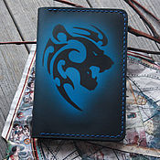 Сумки и аксессуары handmade. Livemaster - original item The passport cover is leather with a zodiac Lion pattern. Handmade.