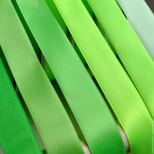 Лента 20мм атласная, зеленые тона