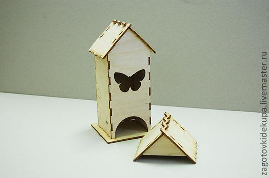 Чайный домик `Бабочка` (продается в разобранном виде в палетах) Размеры:  габарит - 11х11х22 см домик - 8,5х8,5х21,5 см,  подставка - 11х11 см Материал: фанера 3 мм