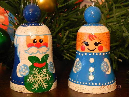 """Новый год 2017 ручной работы. Ярмарка Мастеров - ручная работа. Купить """"дед мороз"""" и """"снегурочка""""- колокольчики. Handmade. Синий"""