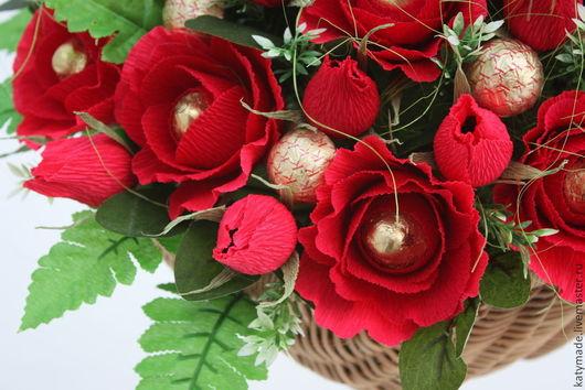 Букеты ручной работы. Ярмарка Мастеров - ручная работа. Купить Красные розы  .......букет из конфет. Handmade. Букет из конфет