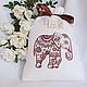 Льняной мешочек с вышивкой `Чайный слон` `Шпулькин дом` мастерская вышивки
