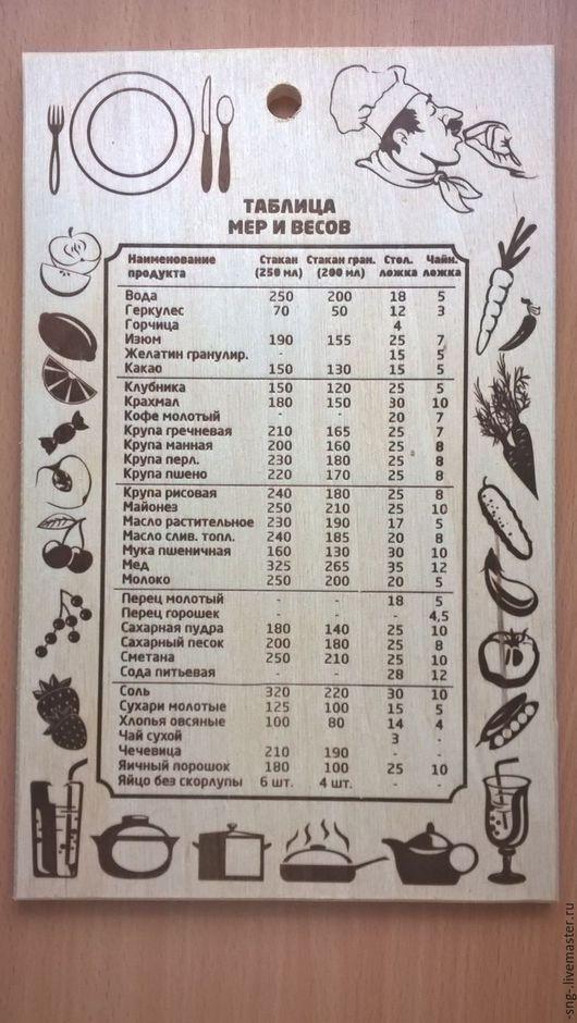 Кухня ручной работы. Ярмарка Мастеров - ручная работа. Купить доска с подсказками!. Handmade. Бежевый, доска из дерева, доска для кухни