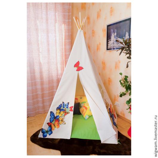 """Детская ручной работы. Ярмарка Мастеров - ручная работа. Купить Детский домик - палатка вигвам """"Бабочки"""". Handmade. Палатка, детский"""