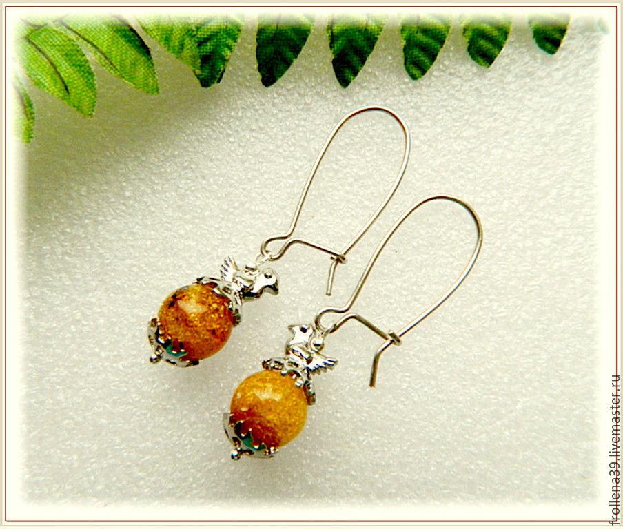 Earrings 'Chicken' amber, silver, furniture UK, Earrings, Moscow,  Фото №1