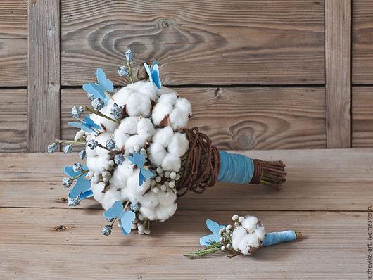 Свадебные цветы ручной работы. Ярмарка Мастеров - ручная работа. Купить Свадебный букет с голубыми бабочками / Букет невесты. Handmade.