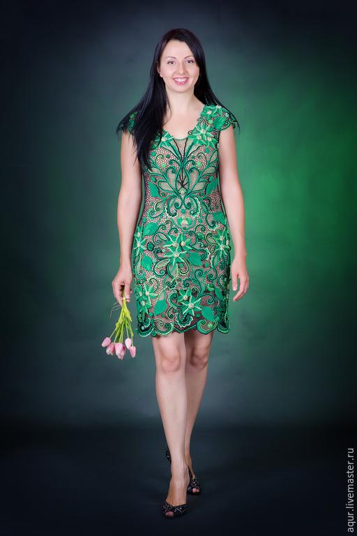 """Платья ручной работы. Ярмарка Мастеров - ручная работа. Купить Платье """"Амазонка"""",ирландское кружево. Handmade. Зеленый, вязаное платье"""