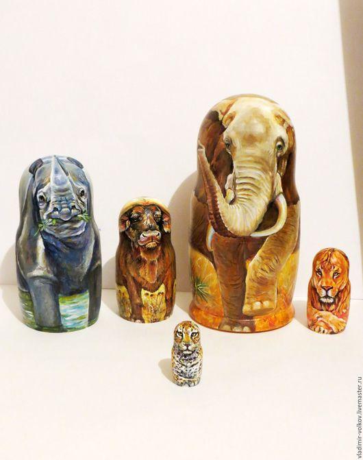 Матрешки ручной работы. Ярмарка Мастеров - ручная работа. Купить Матрешка Большая пятерка, топ-5 животные Африки на матрёшке. Handmade.
