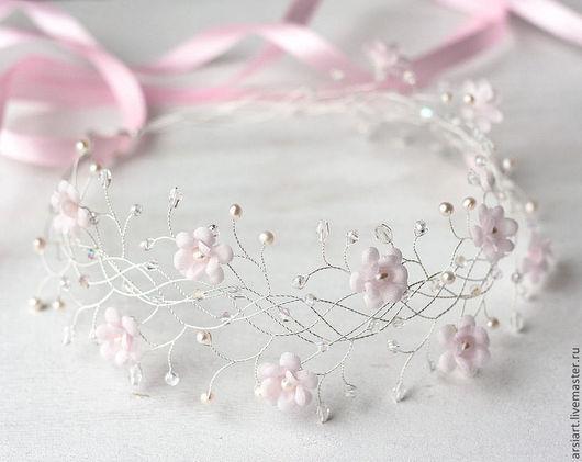 Свадебные украшения ручной работы. Ярмарка Мастеров - ручная работа. Купить Розовый свадебный венок с цветами. Украшение для волос невесты. Тиара. Handmade.