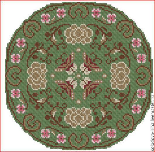 """Вышивка ручной работы. Ярмарка Мастеров - ручная работа. Купить Схема круглой подушечки """"Кофейные розы"""". Handmade. Подушка"""