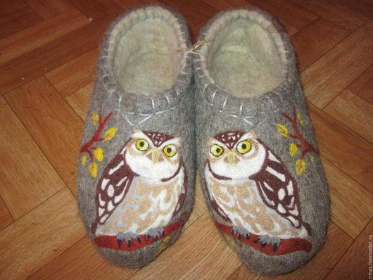 Обувь ручной работы. Ярмарка Мастеров - ручная работа. Купить Тапочки Мужские Сова. Handmade. Серый, домашние тапочки