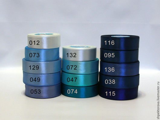 Аппликации, вставки, отделка ручной работы. Ярмарка Мастеров - ручная работа. Купить Ленты атласные  Gamma ( Гамма) 25мм синие голубые. Handmade.