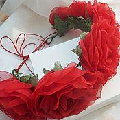 Украшения handmade. Livemaster - original item Rim with roses made of fabric