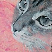 Картины и панно ручной работы. Ярмарка Мастеров - ручная работа В цветном узоре.  Яркий розовый (15 х 15 см). Handmade.