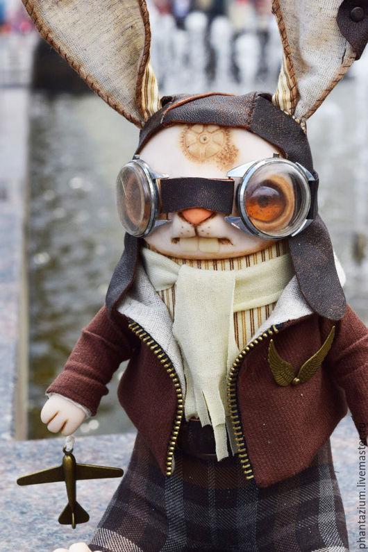Игрушки животные, ручной работы. Ярмарка Мастеров - ручная работа. Купить Пилот. Handmade. Коричневый, текстильная игрушка, очки, хлопок