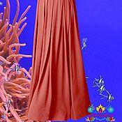 """Одежда ручной работы. Ярмарка Мастеров - ручная работа коралловая юбка  """"Подводный мир"""" из итальянского джерси. Handmade."""
