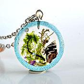Украшения handmade. Livemaster - original item Blue epoxy pendant with seashell and seaweed. Handmade.