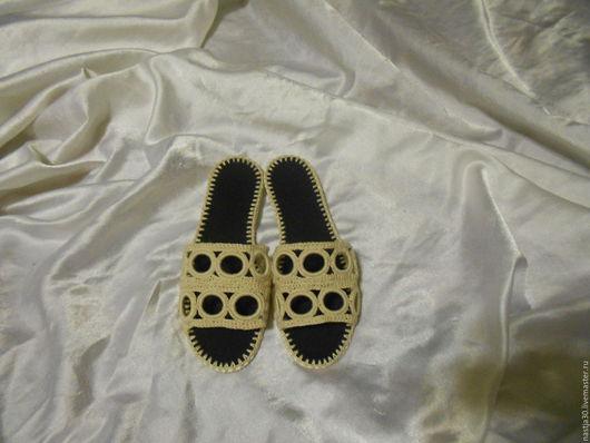 Обувь ручной работы. Ярмарка Мастеров - ручная работа. Купить Шлепки Синтия-беж.. Handmade. Бежевый, обувь вязаная, стельки