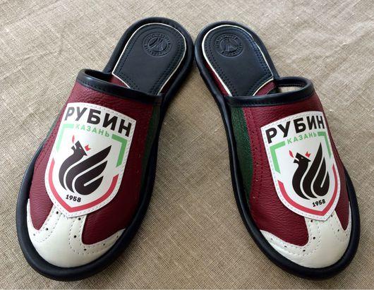 """Обувь ручной работы. Ярмарка Мастеров - ручная работа. Купить Кожаные тапочки """" Рубин"""". Handmade. Тапочки домашние"""