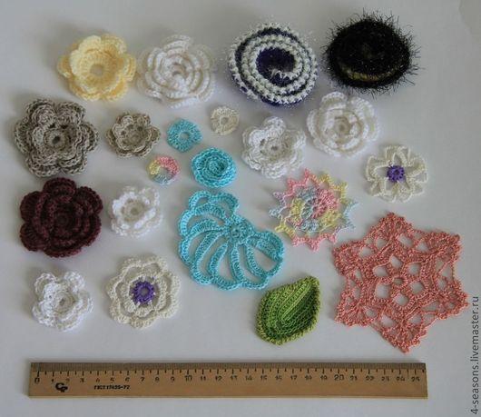 Для примера вязаные элементы - разные модели, разные размеры, разная пряжа (хлопок, лён, шерсть, смесовые, акрил, полиамид).