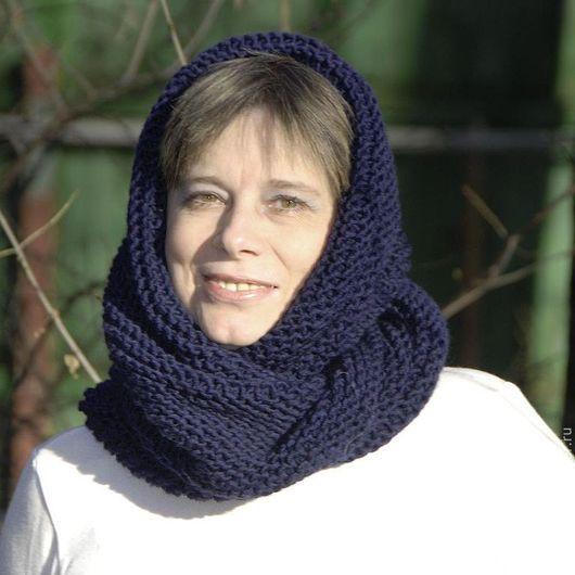 """Шали, палантины ручной работы. Ярмарка Мастеров - ручная работа. Купить Снуд-шарф темно-синий  """"Тихий вечер"""" (полушерсть). Handmade."""